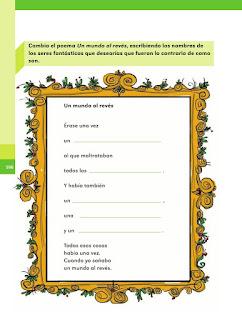 Apoyo Primaria Español 2do grado Bloque 4 lección 7 ¿Cómo sería tu mundo al revés?