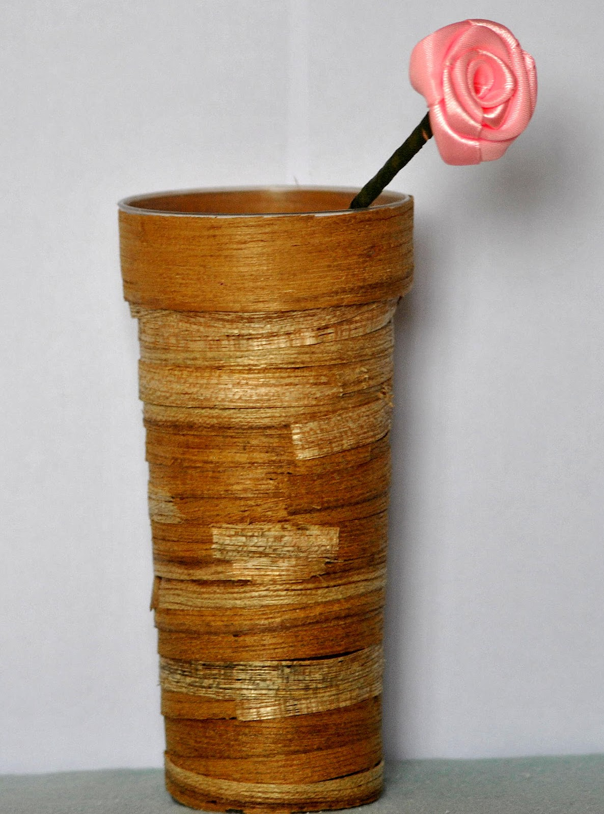 Recycled wood scrape flower vase crafts and handmade for Handmade flower vase with waste material