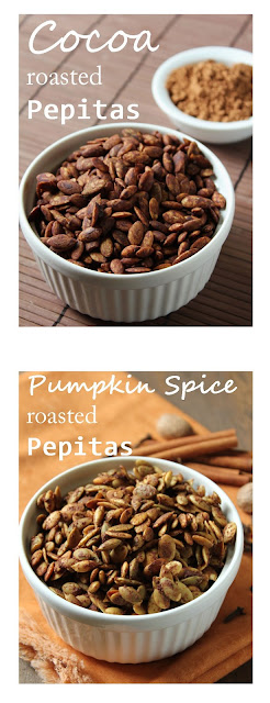 pumpkin spice and cocoa roasted pepitas or pumpkin seeds