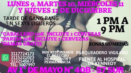 MIÉRCOLES de 1pm a 9 pm GANG BANG MIXTO NUDISTA