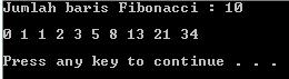 bilangan fibonacci, contoh program cpp