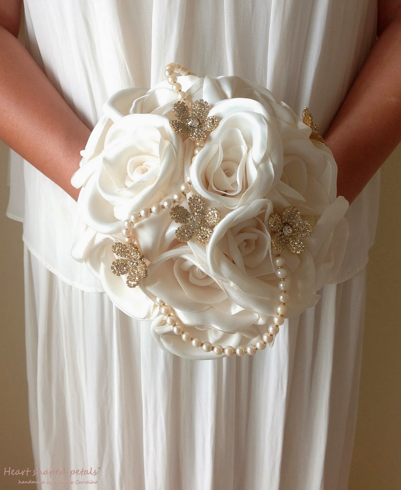 Bridal bouquet white roses pearls
