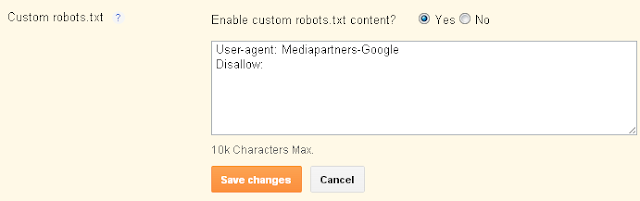 Enable Custom robots.txt - Search preferences - http://atxbikenerd.blogspot.com/