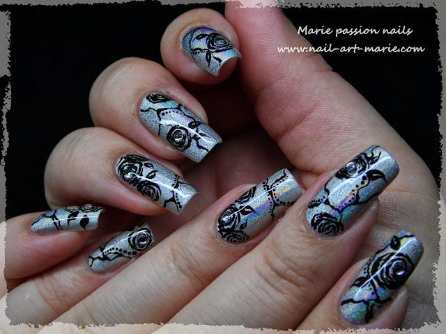 Nail Art Roses noires3