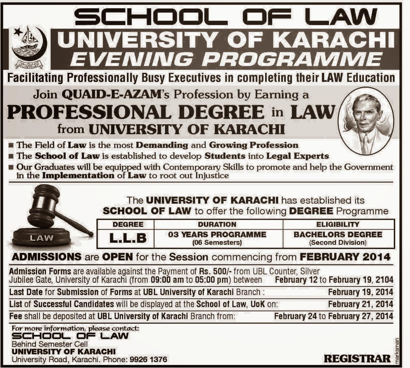 Evening Program School of Law University of Karachi 2014