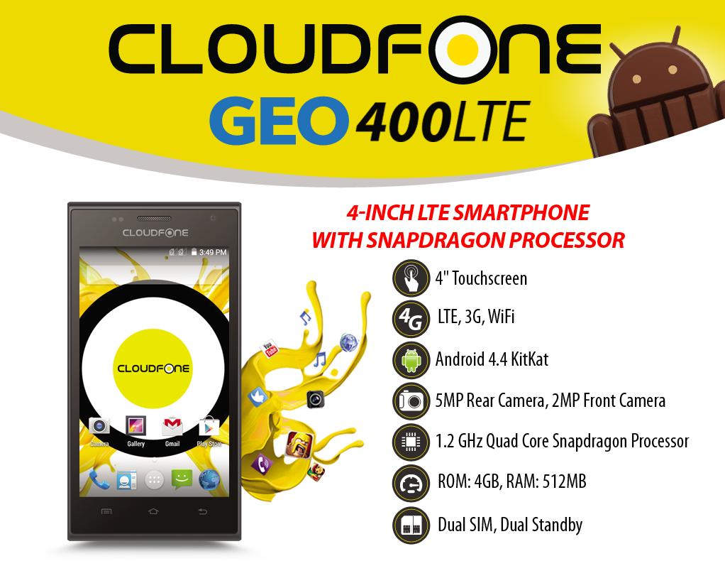 CloudFone GEO 400LTE Specs