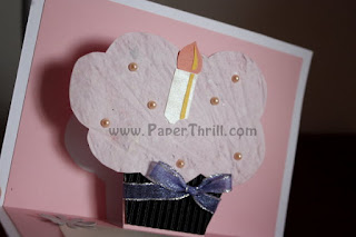 Birthday cupcake rose popup card