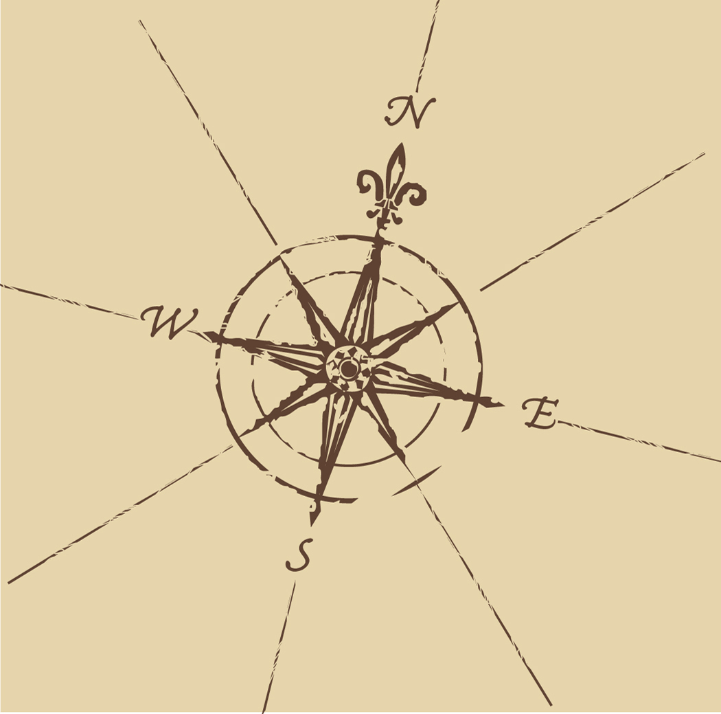 how to draw a compass rose on a map