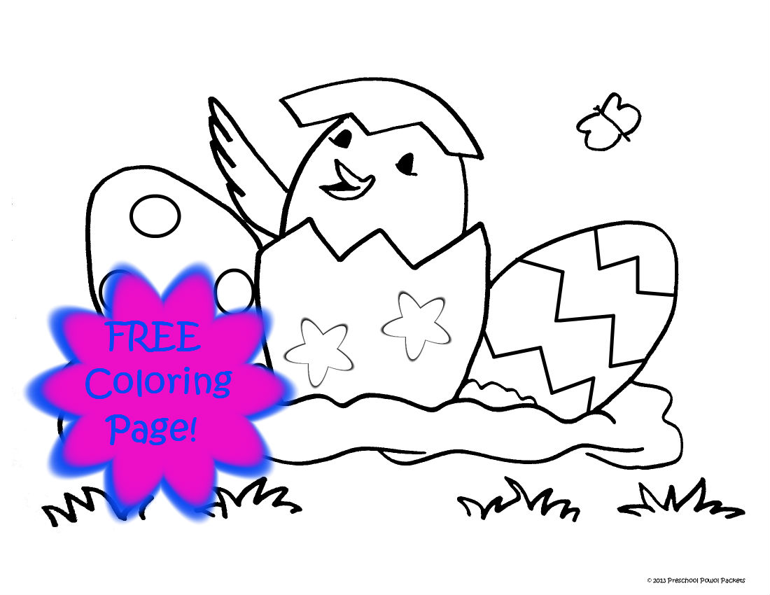 Free chick eggs easter coloring page preschool powol for Free easter coloring page
