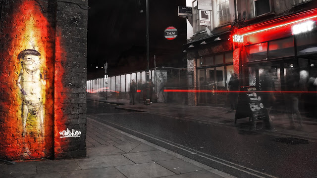 graffiti, street art, east london, brick lane, urban, black and white, colour pop, long exposure, light trail
