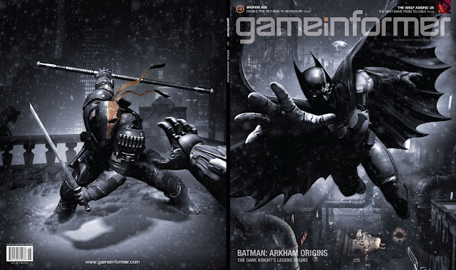 Batman and Deathstroke on the cover of the May issue of Game Informer