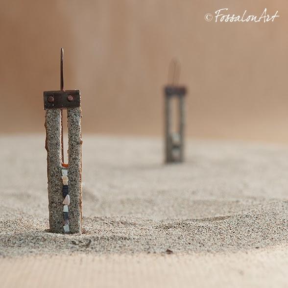 "FossalonArt & BeadsandTricks - orecchini ""Una linea"""