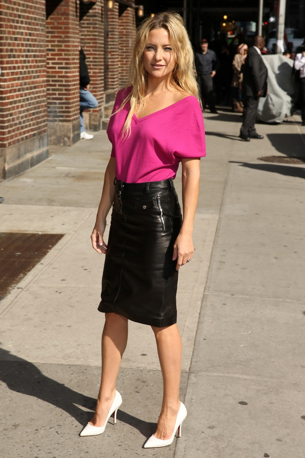 lovely in leather kate hudson in a leather pencil
