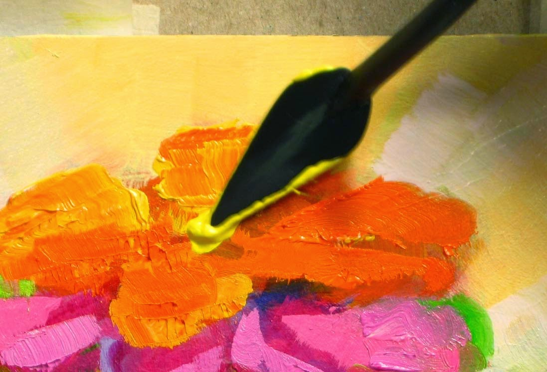 using a palette knife to layer on the oil paint for My Big Fat Fauve Cupcake