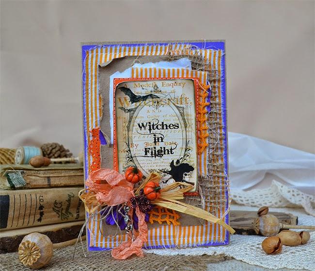 открытка ручной работы, хэллоуин, тыква