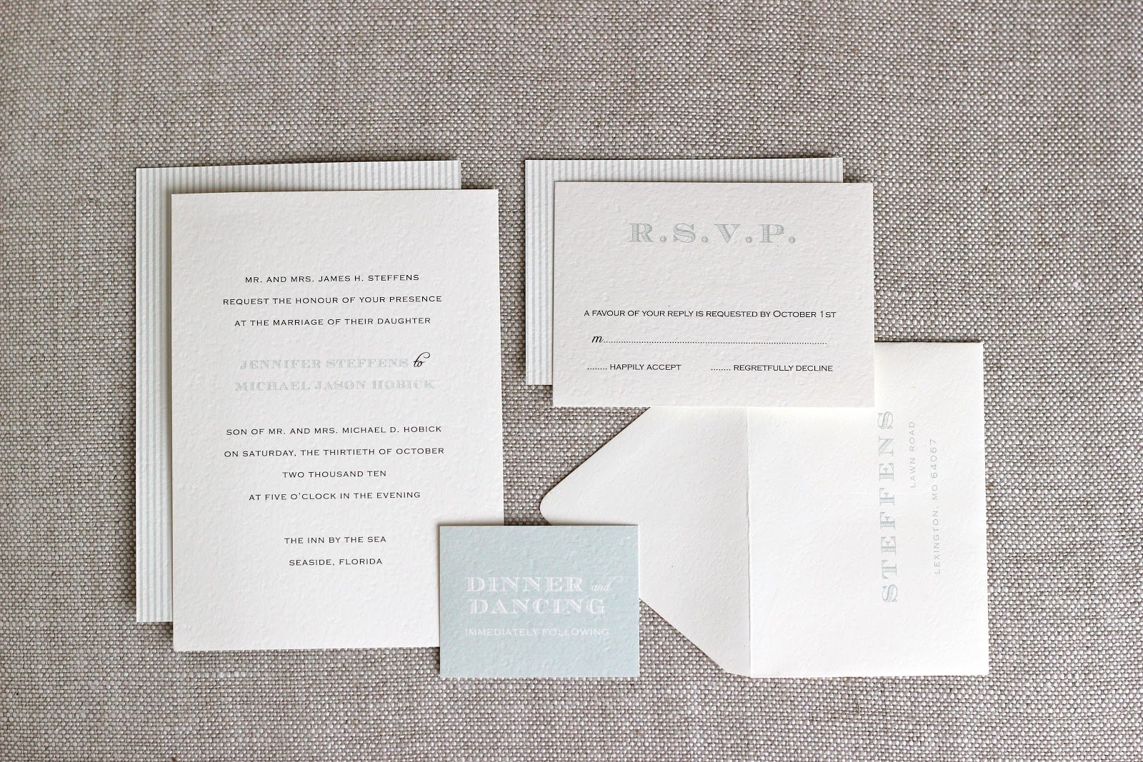 Jenny Steffens Hobick: Our Wedding Invitations | Seaside bound...