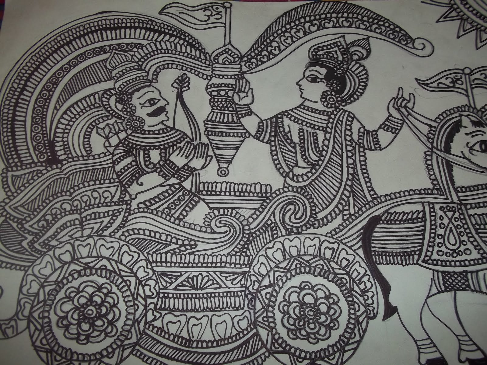 Simple madhubani paintings in black and white the image kid has it - Black n white designs ...