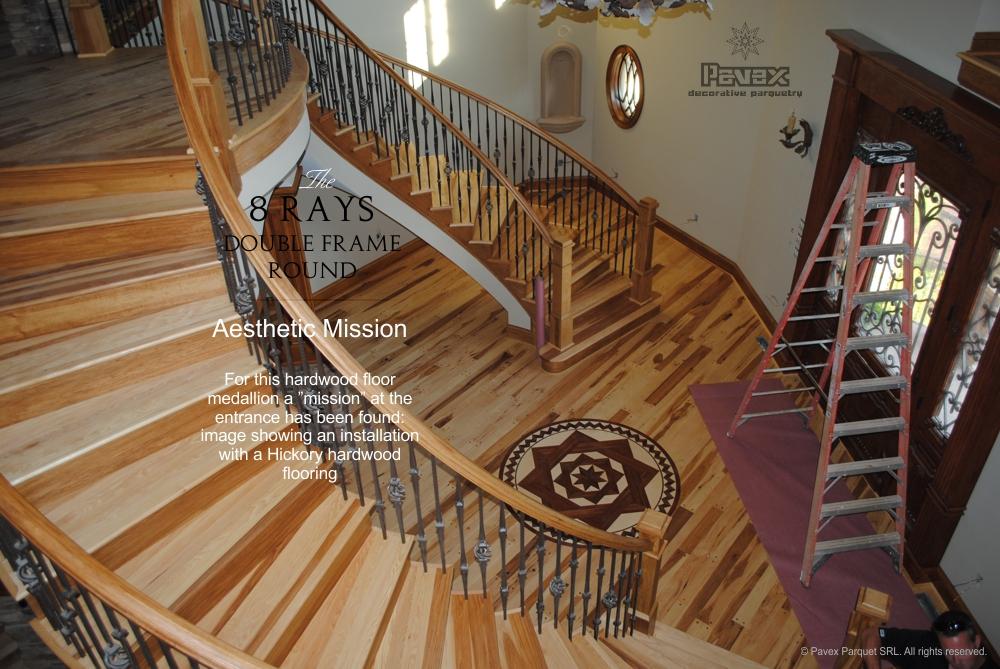 Parquet flooring hardwood floor border medallion inlays for Floor inlay designs
