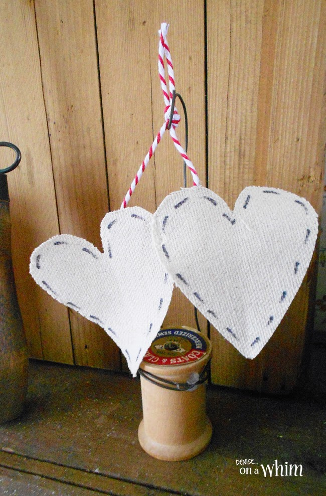 Drop Cloth Hearts on a Vintage Thread Spool Holder from Denise on a Whim