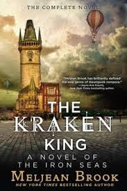 The Kraken King, Cover Description: Illustration of a Victorian building and a rainy sky; a hot air balloon can be seen floating on the back.