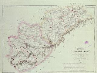 Mapa de las Provincias de Segovia y Ávila por Alabera y Mabon 1853