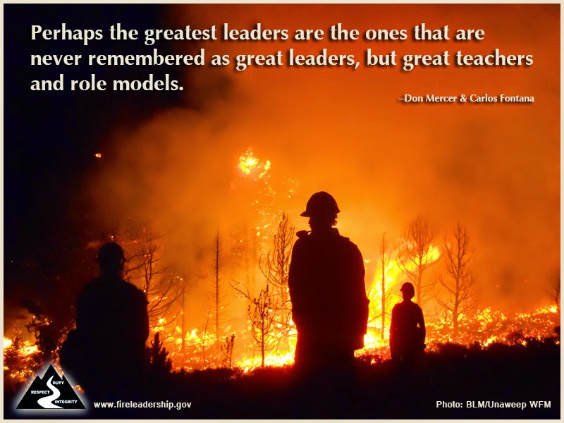 """Perhaps the greatest leaders are the ones that are never remembered as great leaders, but great teachers and role models."" ~ Don Mercer and Carlos Fontana, ""Follow to Lead"""