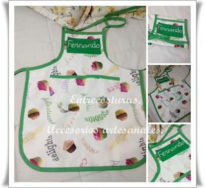 Delantal cupcake-verde niño. Entrecosturas. Accesorios artesanales