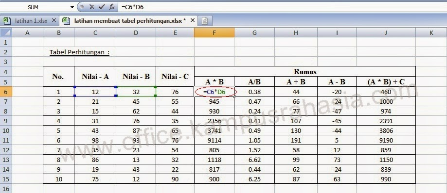 Formula Microsoft Excel