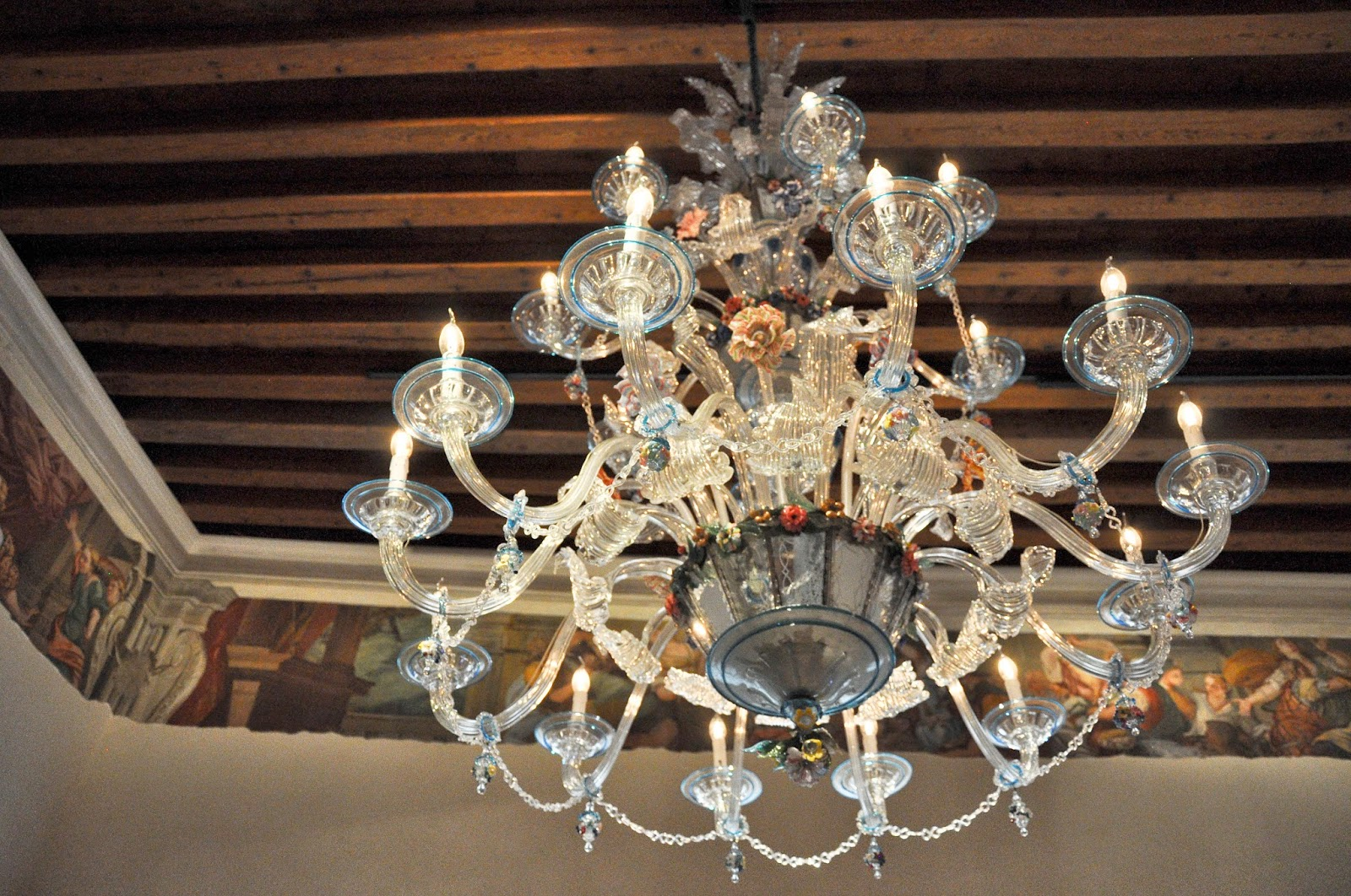 A Murano glass chandelier, the Ancient Greece section of Gallerie D'Italia in Palazzo Leoni Montanari, Vicenza, Italy