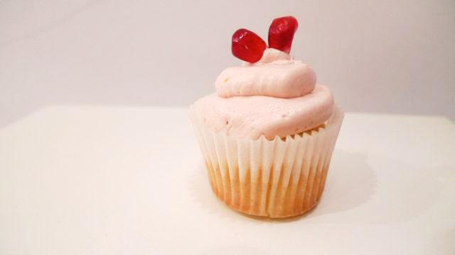 Cake Power Cakes: Orange Vanilla bean Cupcakes with Pomegranate Hearts