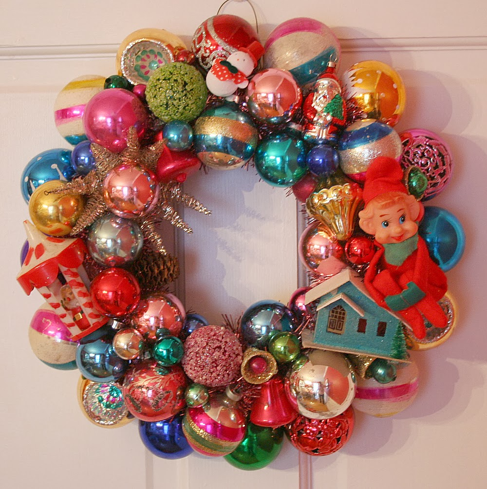 Oh by the way retro wreaths for What to do with old christmas ornaments