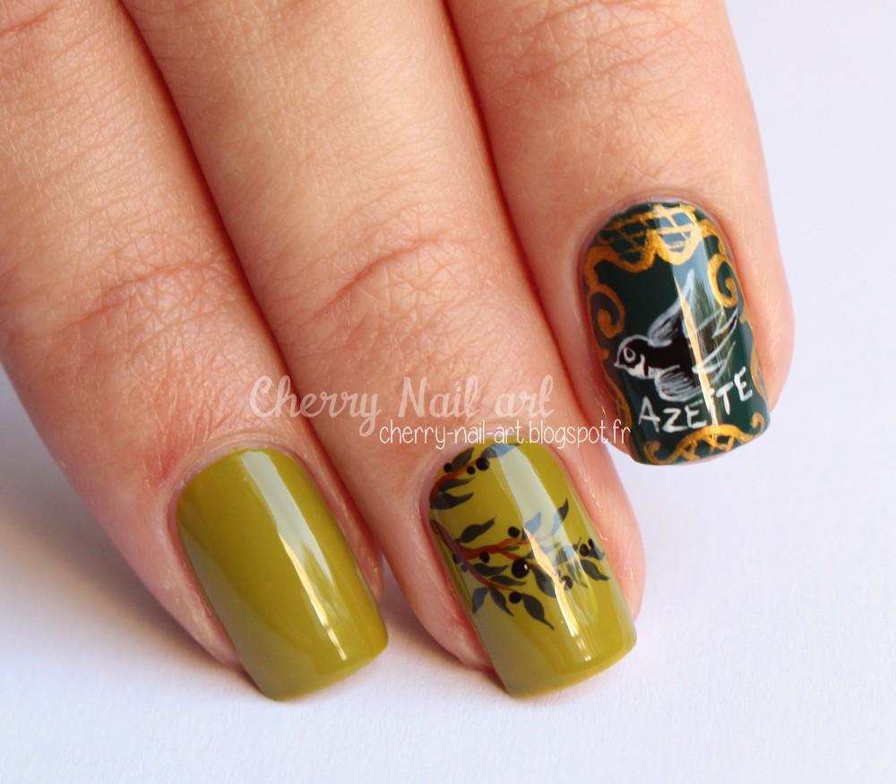 nail art nature provencal olive
