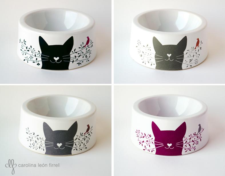 carolina leon firrell katz la gamelle pour chat en porcelaine. Black Bedroom Furniture Sets. Home Design Ideas