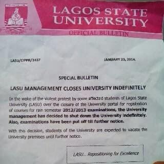lasu shut down further notice