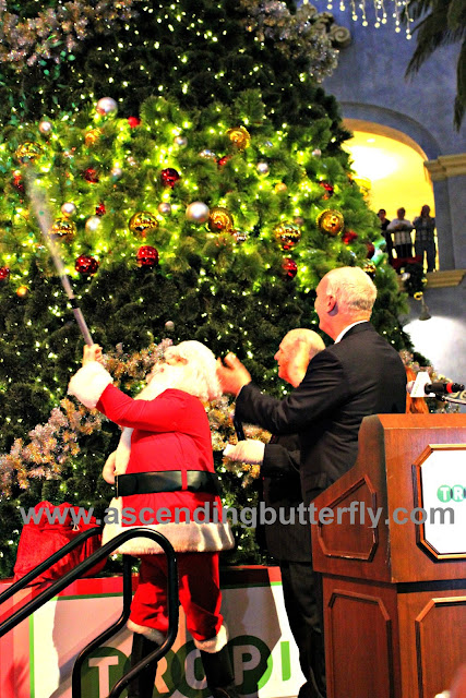 Manager Steve Callender, Mayor Don Guardian and the big guy - Santa Claus light the Holiday Tree! Tropicana Atlantic City Casino 2015 Holiday Tree Lighting