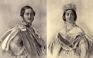 Prince Albert and Queen Victoria  from portraits by Dalton after F Winterhalter  from The Girlhood of Queen Victoria (1912)