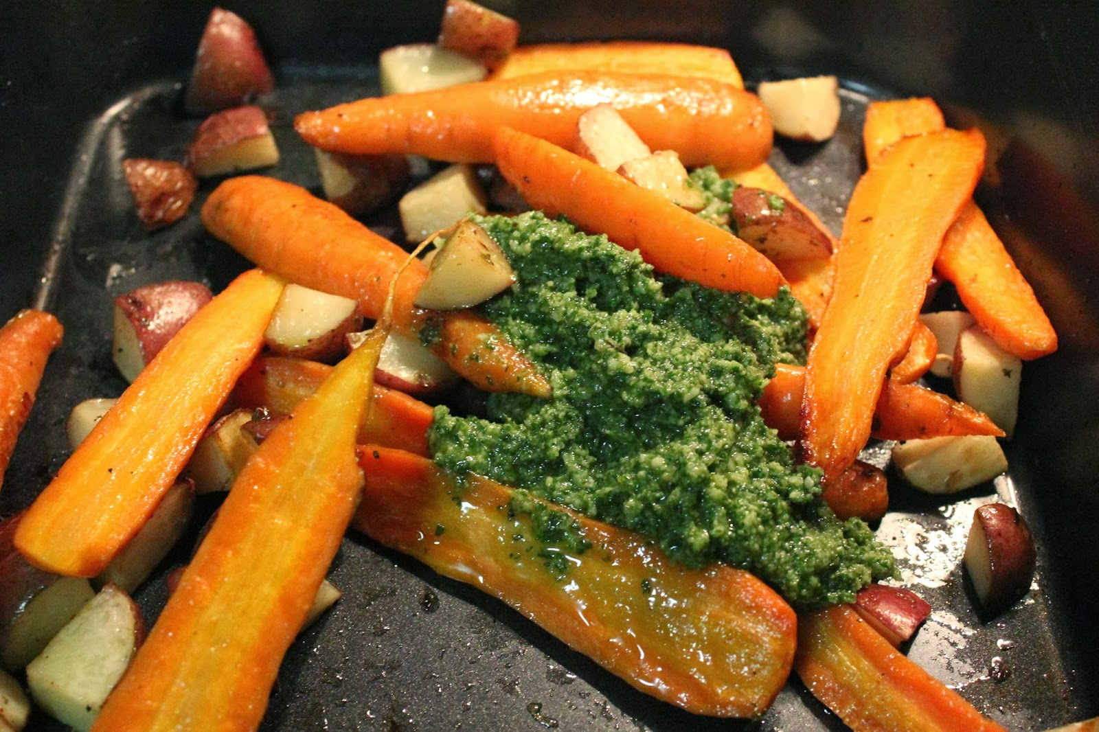 Runaway Apricot's Roasted Carrots and Potatoes with Carrot Top Pesto