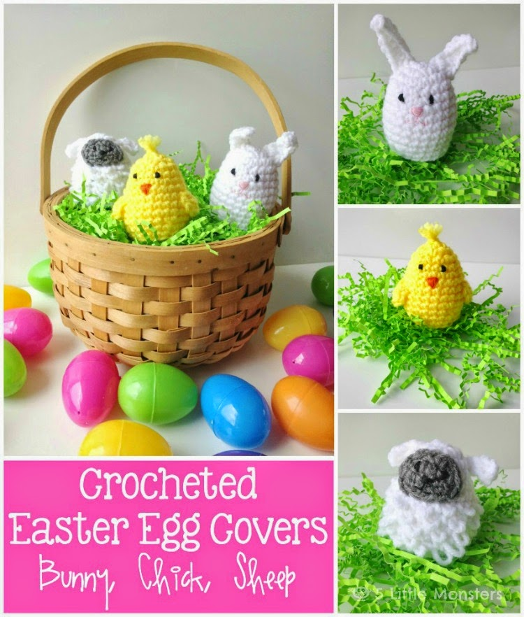 5 little monsters crocheted easter egg covers easter is just over a week away probably time to start getting easter baskets ready luckily these cute little easter egg covers are a quick and easy negle Image collections