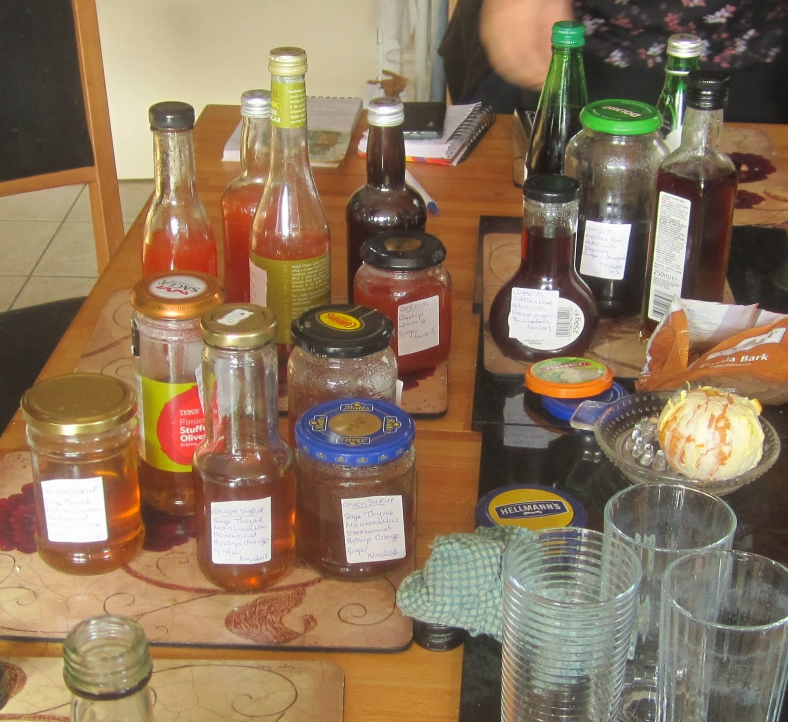 Three bottled syrups