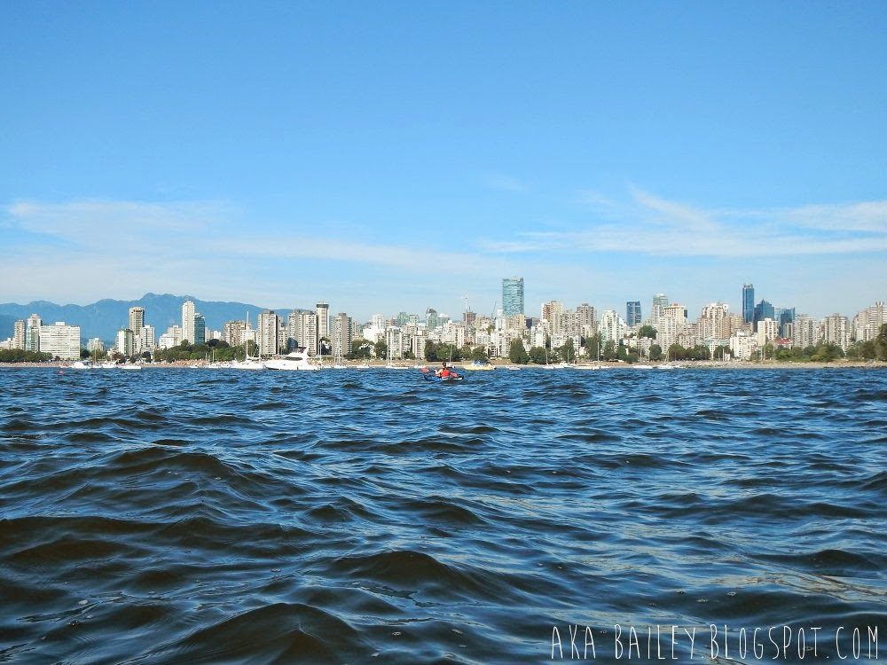 View of Downtown Vancouver from a kayak in English Bay