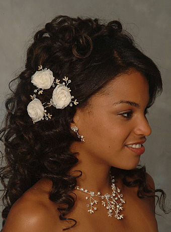 Down Wedding Hairstyle with Flower