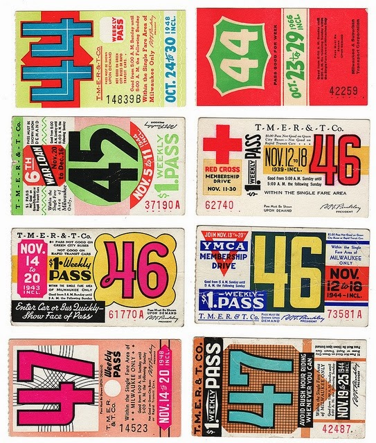 vintage Milwaukee Bus Passes.