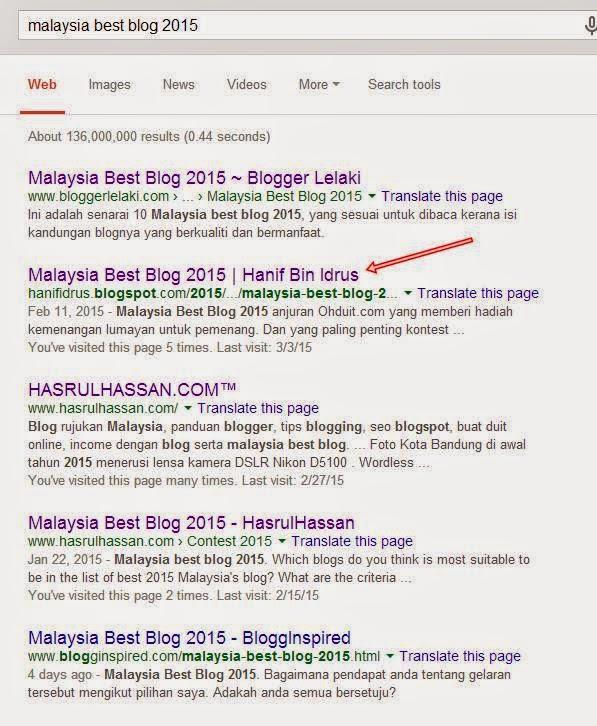 Hanif Malaysia Best Blog 2015 Carian Pertama