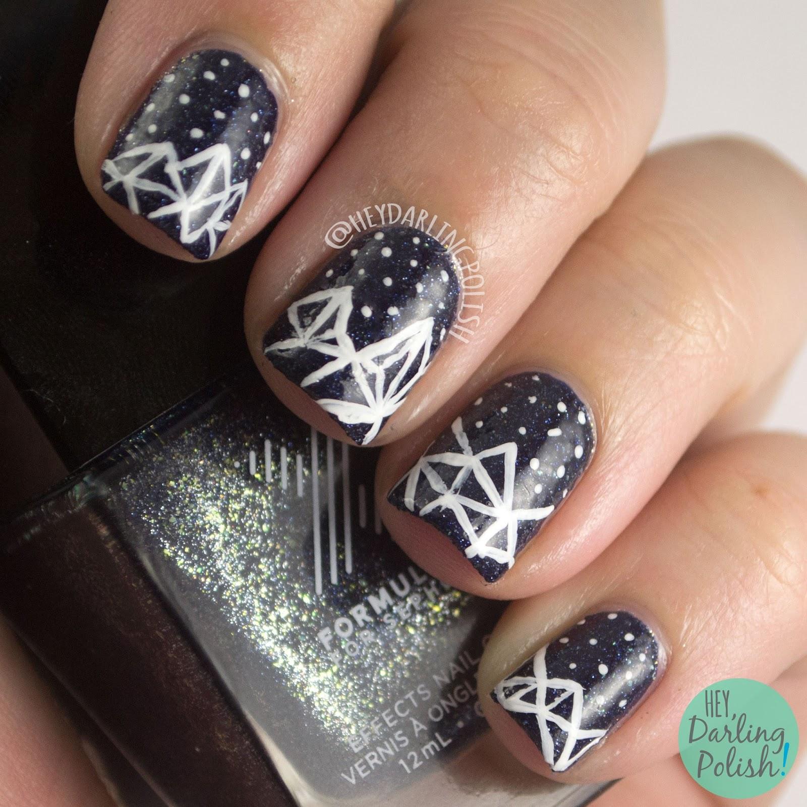 nails, nail art, galaxy, fractals, fractal nail art, hey darling polish, free hand,