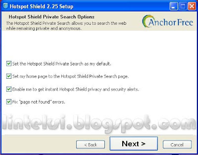 Hotspot Shield Private Search Options