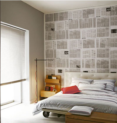 Papel pared cabecero decorar tu casa es for Paredes con papel periodico