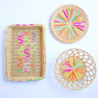 Give old baskets a modern makeover with yarn