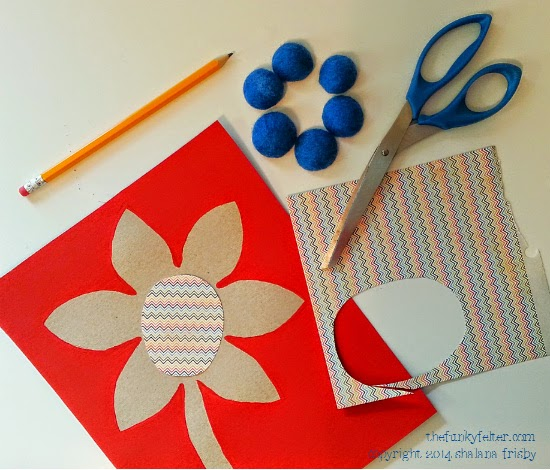 recycled cereal box patterned paper center and wool beads step 3