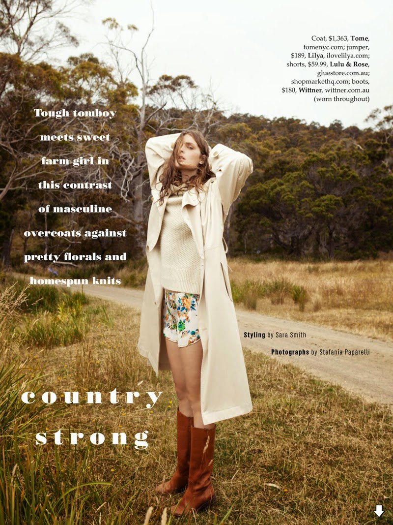 Country Strong: Gertrud Hegelund By Stefania Paparelli For Elle Australia April 2014