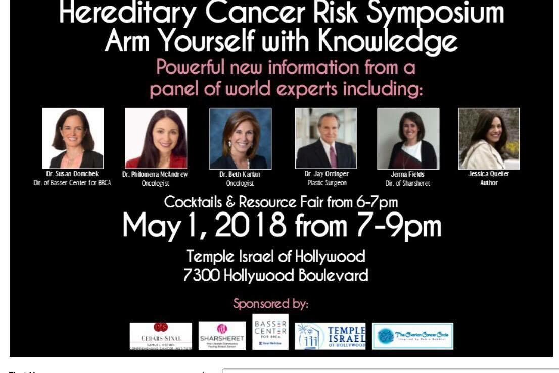 May 1, 2018 - Hereditary Cancer Risk Symposium